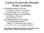 creating dynamically allocated arrays examples