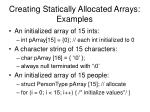 creating statically allocated arrays examples