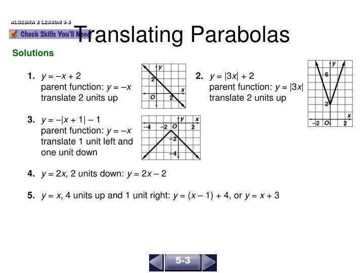 Translating Parabolas