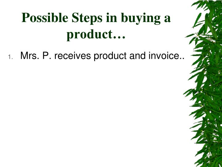 Possible steps in buying a product1