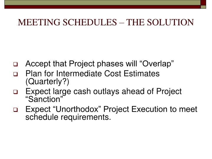 MEETING SCHEDULES – THE SOLUTION