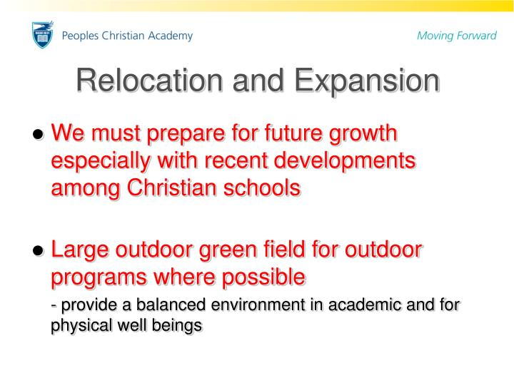 Relocation and Expansion
