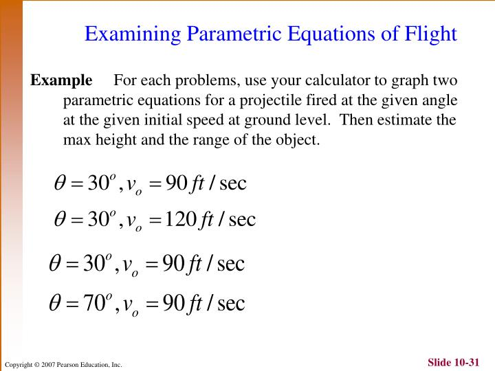 Examining Parametric Equations of Flight