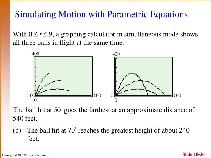 Simulating Motion with Parametric Equations