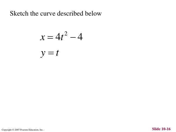 Sketch the curve described below