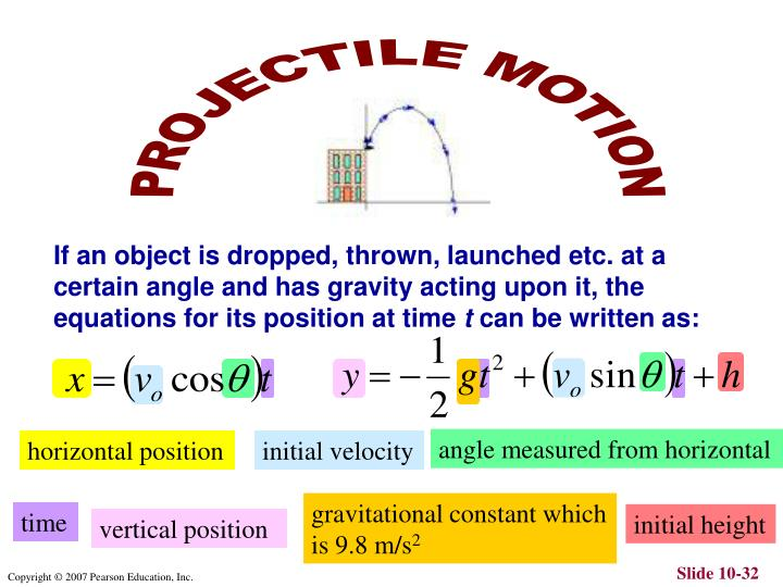If an object is dropped, thrown, launched etc. at a certain angle and has gravity acting upon it, the equations for its position at time