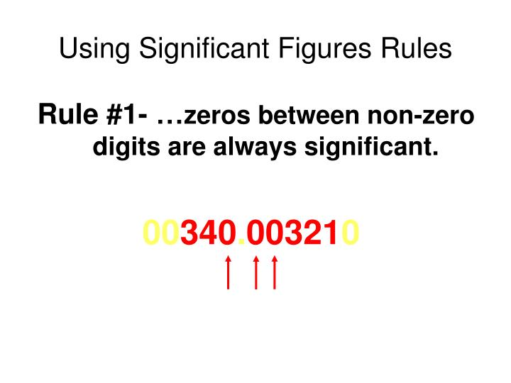 Using Significant Figures Rules