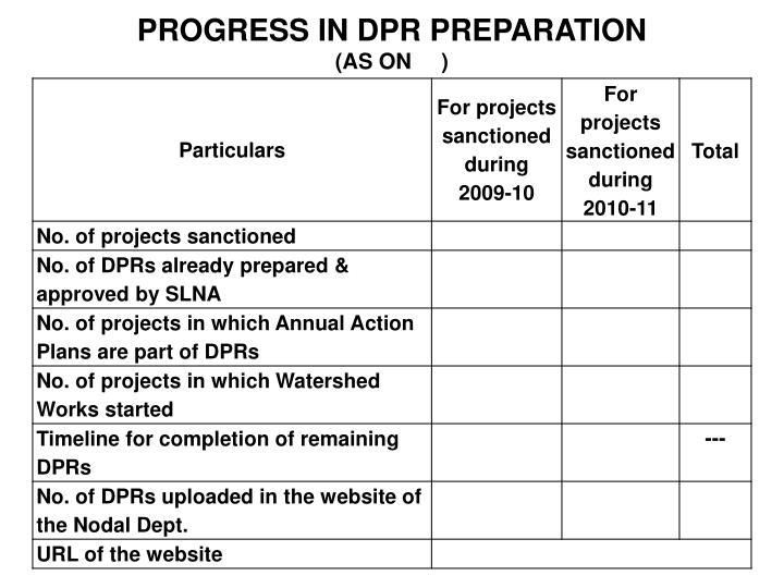PROGRESS IN DPR PREPARATION