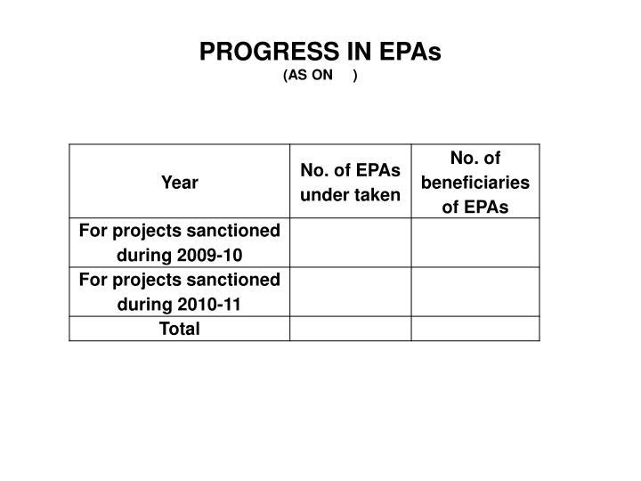 PROGRESS IN EPAs
