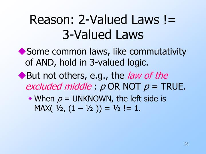 Reason: 2-Valued Laws != 3-Valued Laws