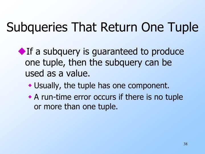 Subqueries That Return One Tuple