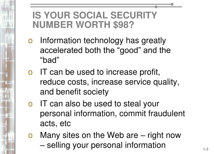 Is your social security number worth 98
