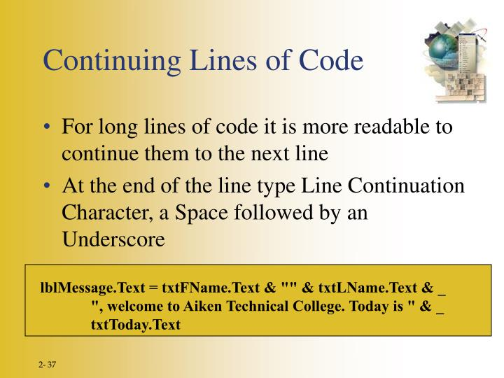 Continuing Lines of Code