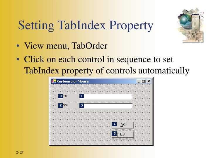 Setting TabIndex Property