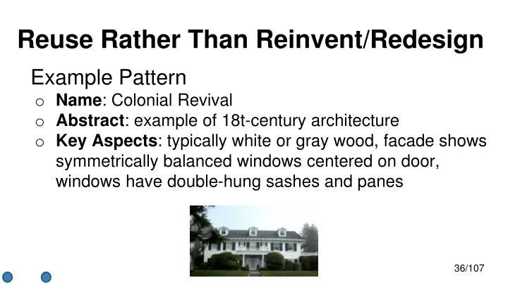Reuse Rather Than