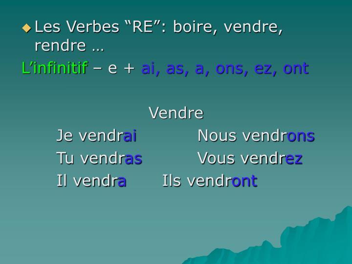 """Les Verbes """"RE"""": boire, vendre, rendre …"""