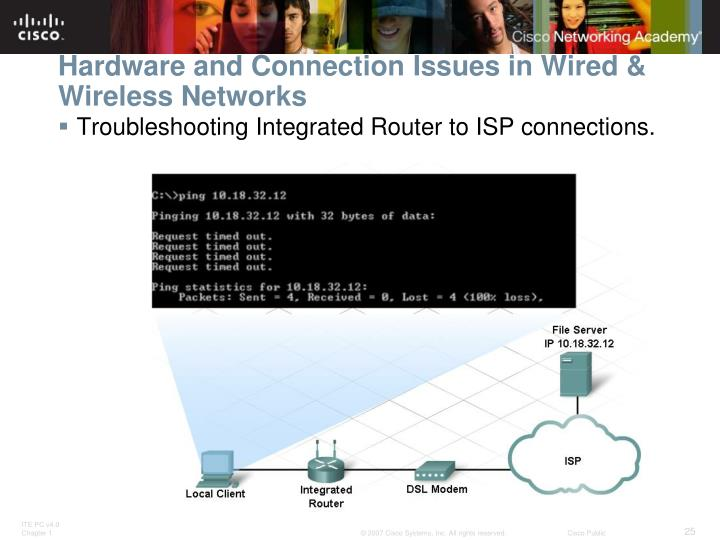 Hardware and Connection Issues in Wired & Wireless Networks