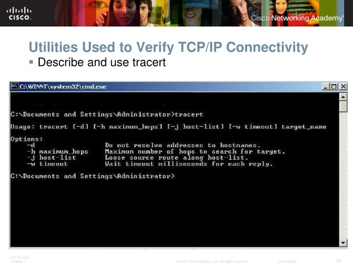Utilities Used to Verify TCP/IP Connectivity