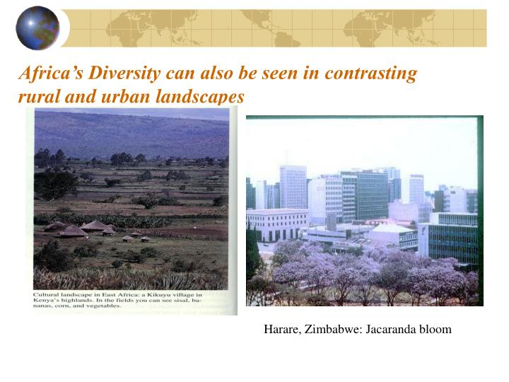Africa's Diversity can also be seen in contrasting rural and urban landscapes