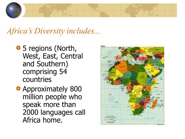 Africa's Diversity includes...