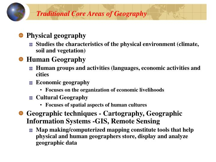 Traditional Core Areas of Geography