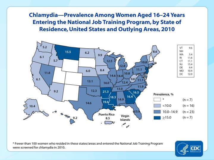 Chlamydia—Prevalence Among Women Aged 16–24 Years Entering the National Job Training Program, by State of Residence, United States and Outlying Areas, 2010