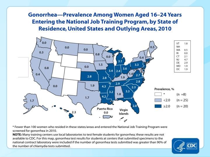 Gonorrhea—Prevalence Among Women Aged 16–24 Years Entering the National Job Training Program, by State of Residence, United States and Outlying Areas, 2010