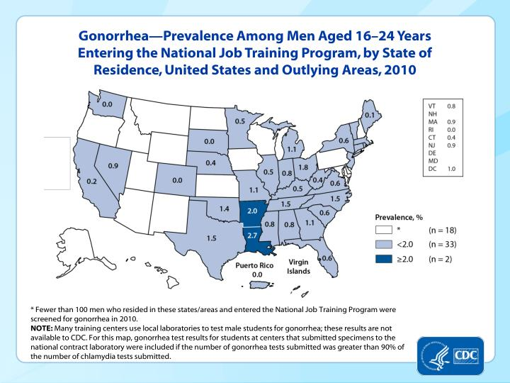 Gonorrhea—Prevalence Among Men Aged 16–24 Years Entering the National Job Training Program, by State of Residence, United States and Outlying Areas, 2010