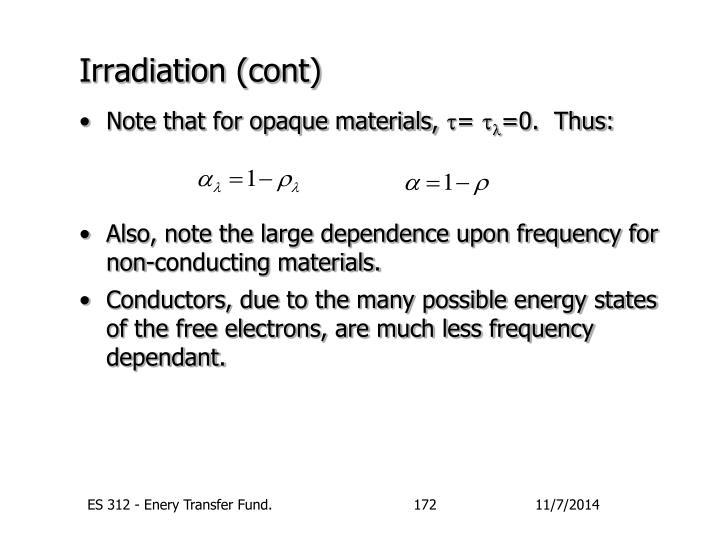 Irradiation (cont)