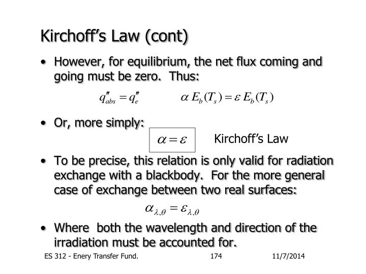Kirchoff's Law (cont)