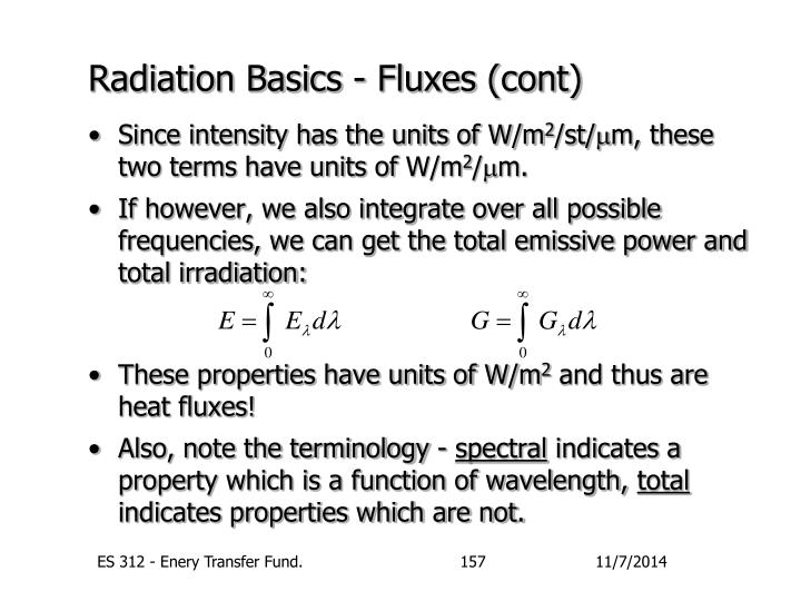 Radiation Basics - Fluxes (cont)