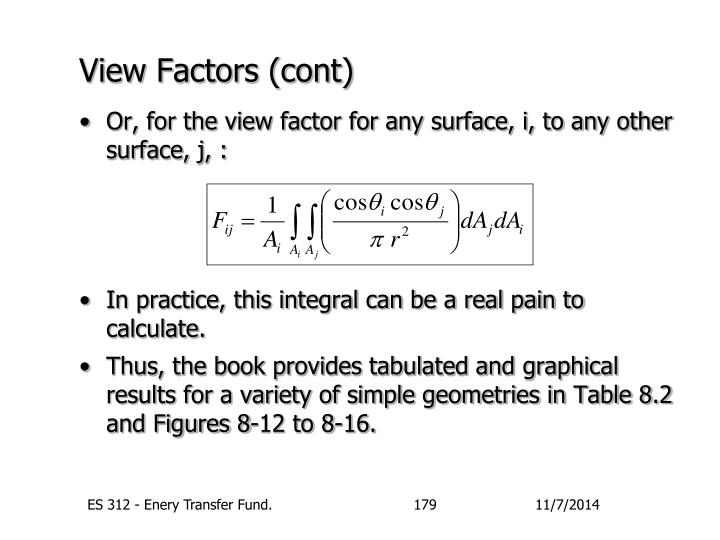 View Factors (cont)