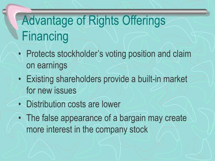 Advantage of Rights Offerings Financing