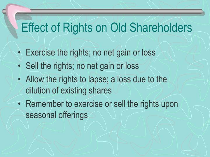 Effect of Rights on Old Shareholders