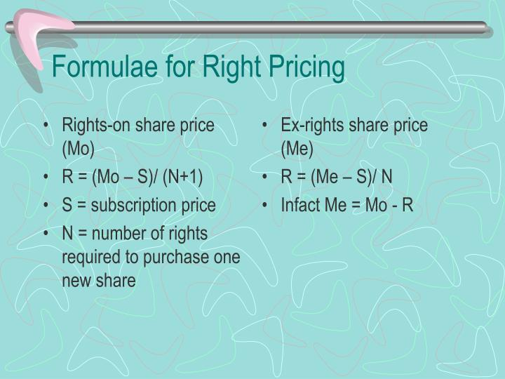 Rights-on share price (Mo)