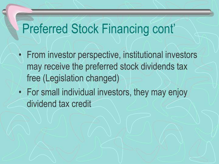 Preferred Stock Financing cont'