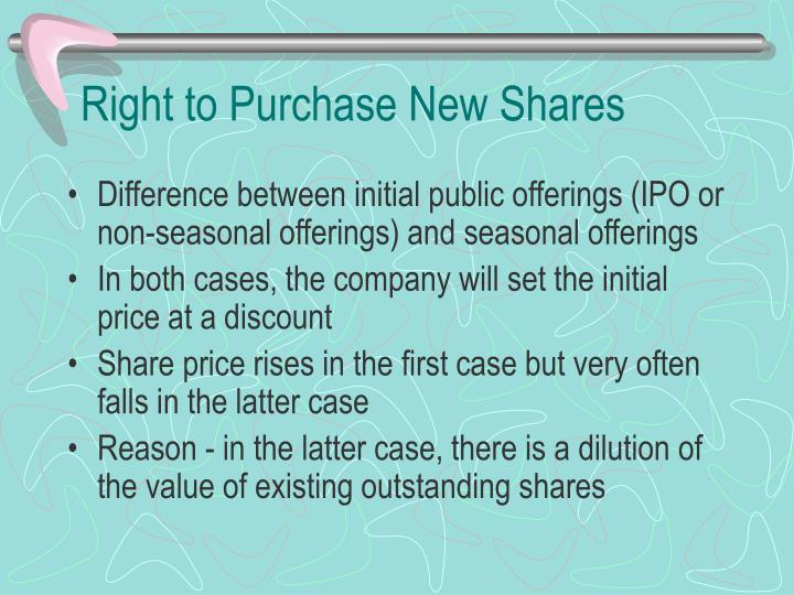 Right to Purchase New Shares