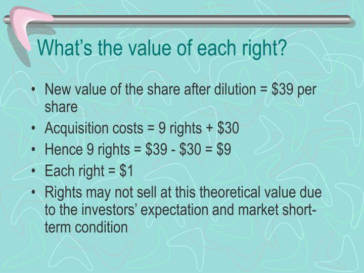 What's the value of each right?