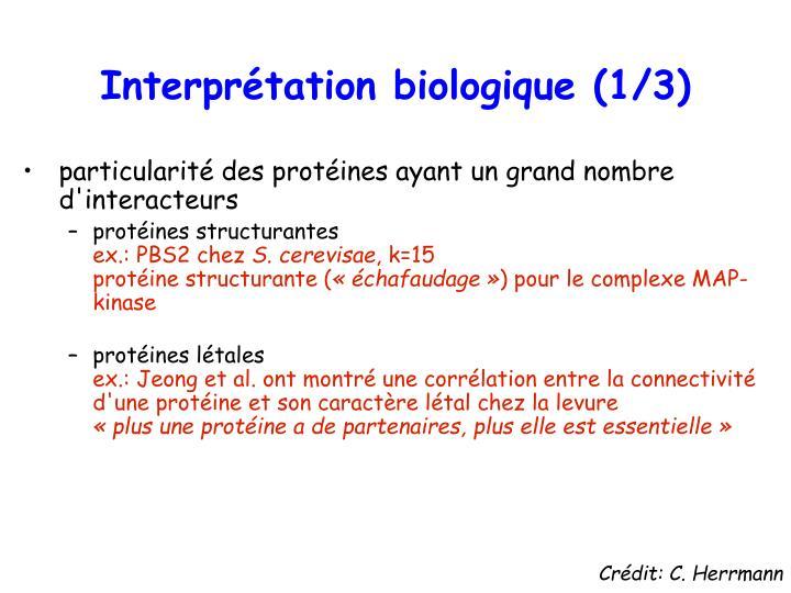 Interprétation biologique (1/3)
