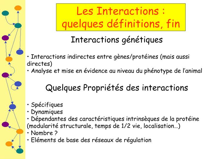 Les Interactions :