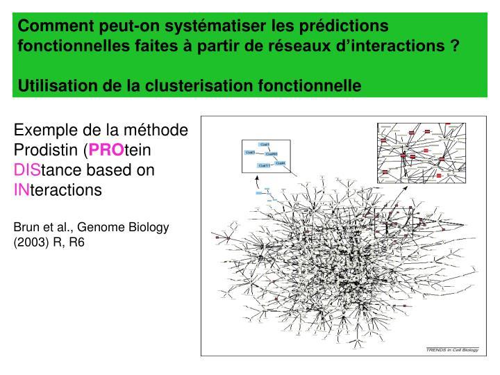 Comment peut-on systématiser les prédictions fonctionnelles faites à partir de réseaux d'interactions ?