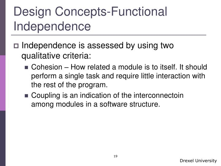 Design Concepts-Functional Independence