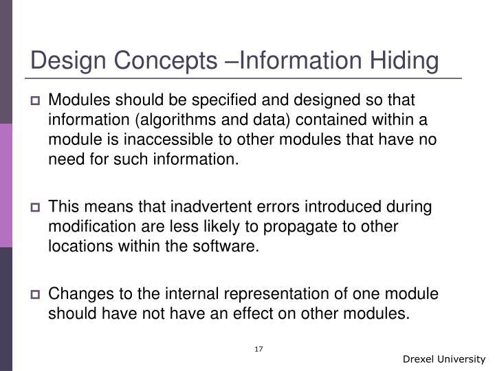 Design Concepts –Information Hiding