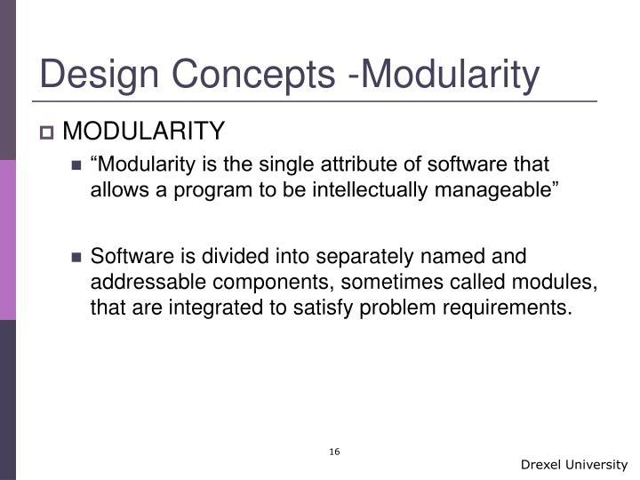 Design Concepts -Modularity