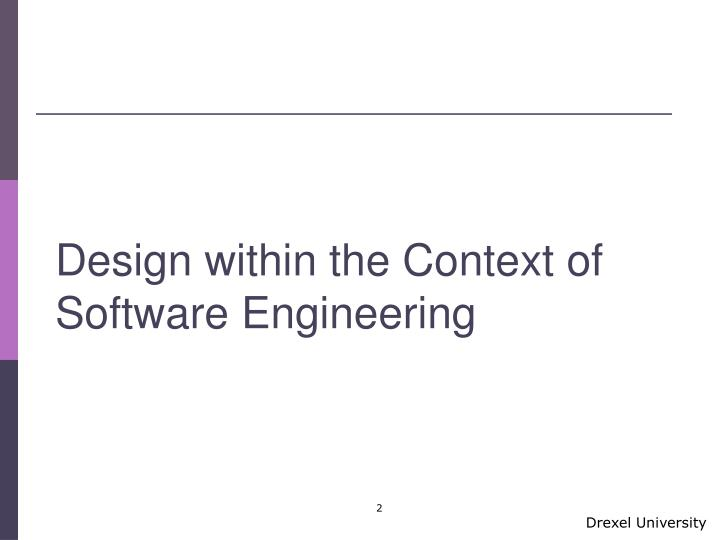 Design within the Context of Software Engineering
