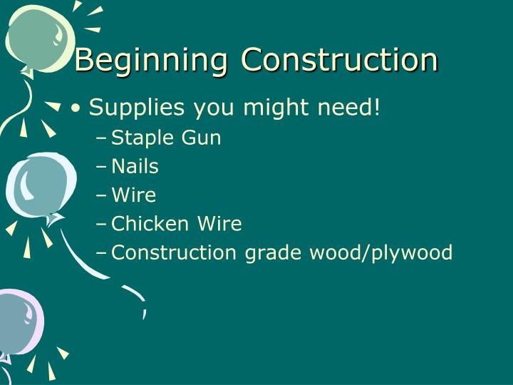 Beginning Construction