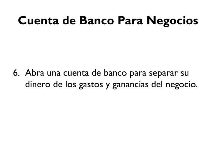 Cuenta de Banco Para Negocios