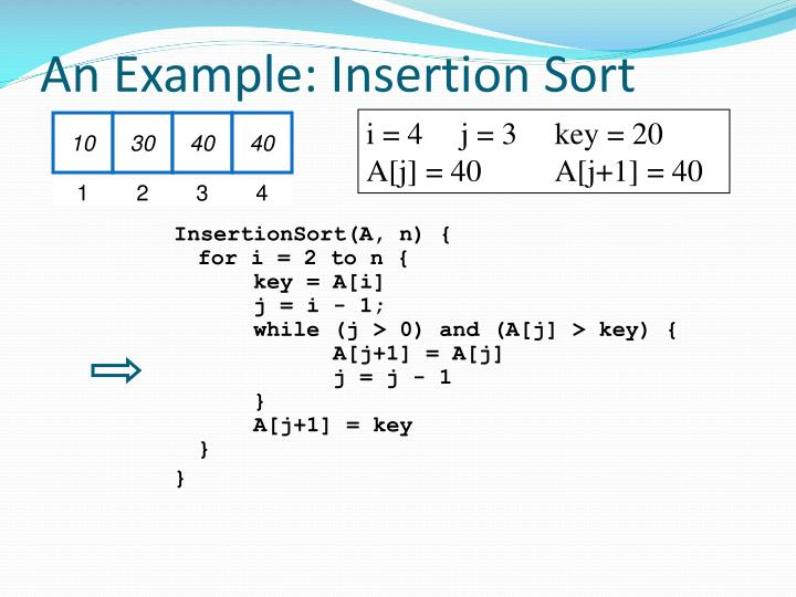An Example: Insertion Sort