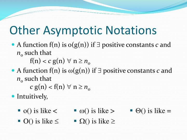 Other Asymptotic Notations