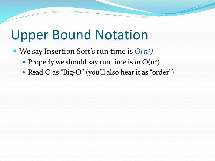 Upper Bound Notation